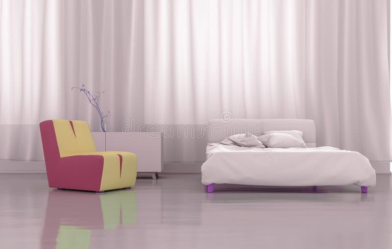 3D che rende camera da letto rosa illustrazione di stock
