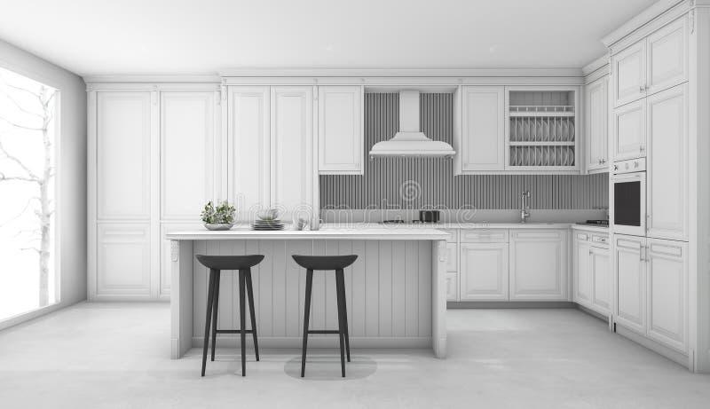 3d Che Rende Cucina Classica Bianca Illustrazione di Stock ...