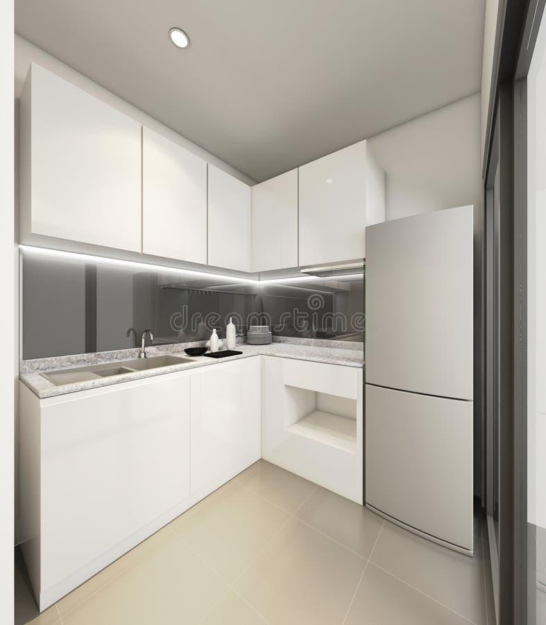 3D che rende cucina moderna, illustrazione interna illustrazione vettoriale
