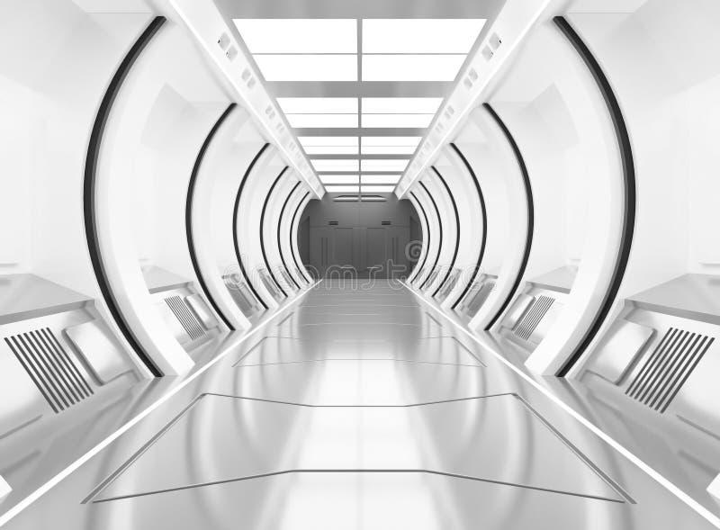 3D che rende gli elementi di questa immagine ha fornito, bianco dell'astronave ed interno con la vista, tunnel, corridoio di deli illustrazione vettoriale