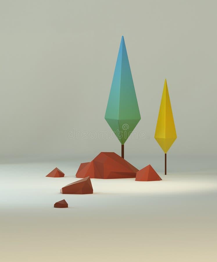 3d che rende gruppo di poli alberi e rocce stilizzati bassi royalty illustrazione gratis
