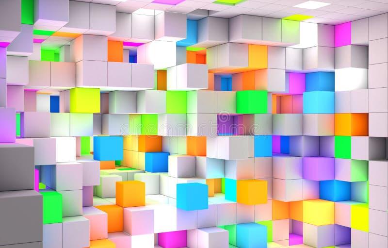 3D che rende i cubi astratti della luce di colore del fondo fotografie stock