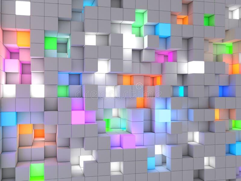 3D che rende i cubi astratti della luce di colore del fondo fotografia stock