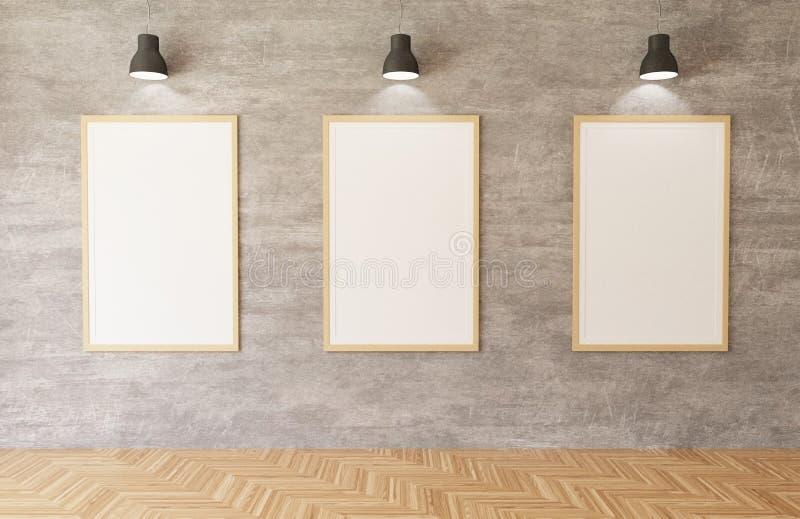 3d che rende i manifesti bianchi e le strutture che appendono sui precedenti del muro di cemento nella stanza, luci, pavimento di illustrazione vettoriale