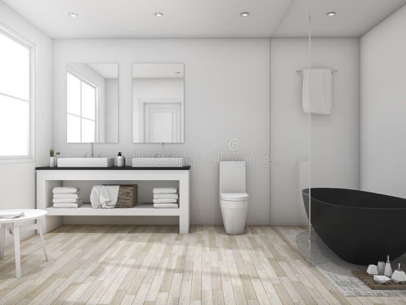 3d che rende il bagno minimo del sottotetto con la vasca nera illustrazione di stock - Bagno sottotetto ...