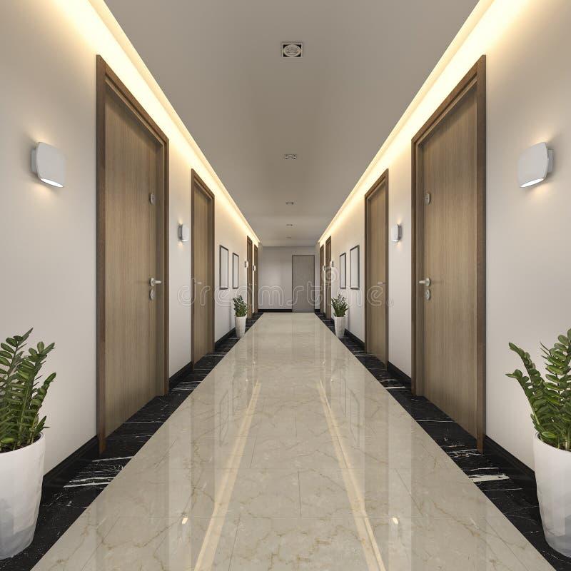 3d che rende il corridoio di lusso moderno dell'hotel delle mattonelle e di legno royalty illustrazione gratis