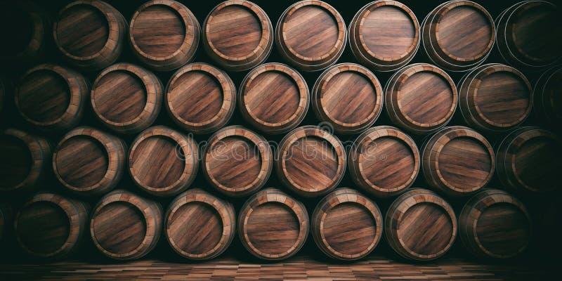 3d che rende il fondo di legno dei barilotti illustrazione di stock