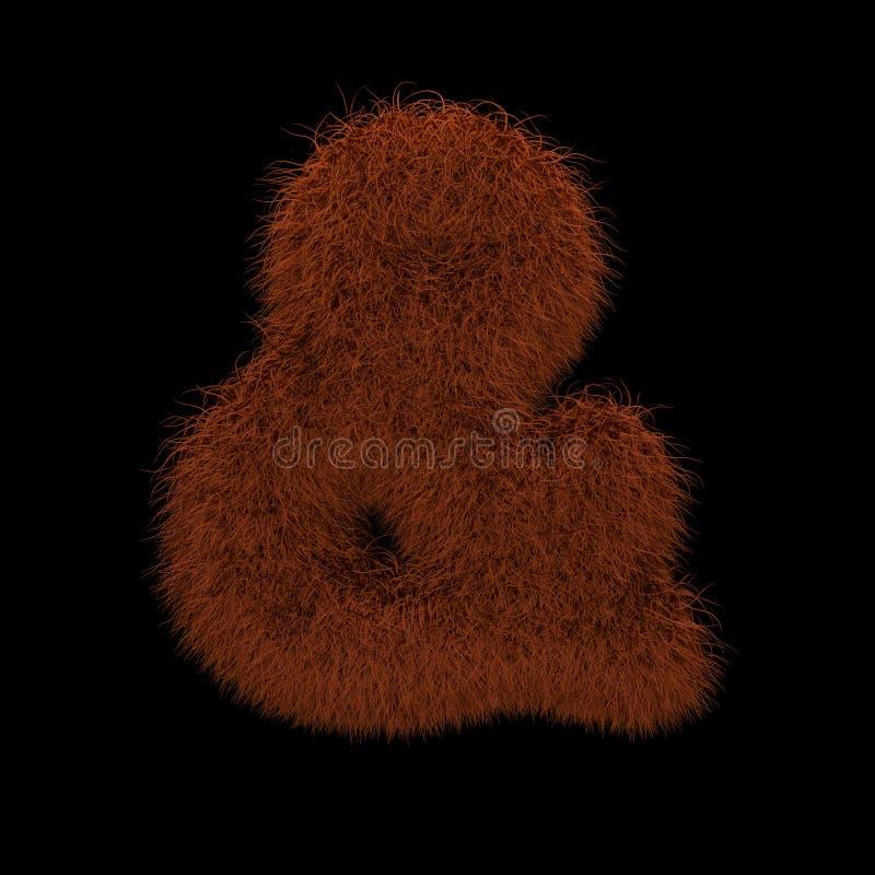 3D che rende illustrazione creativa Ginger Orangutan Furry Symbol Ampersand illustrazione vettoriale