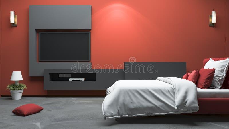 3d che rende la camera da letto moderna rossa di stile con costruito nella progettazione illustrazione di stock