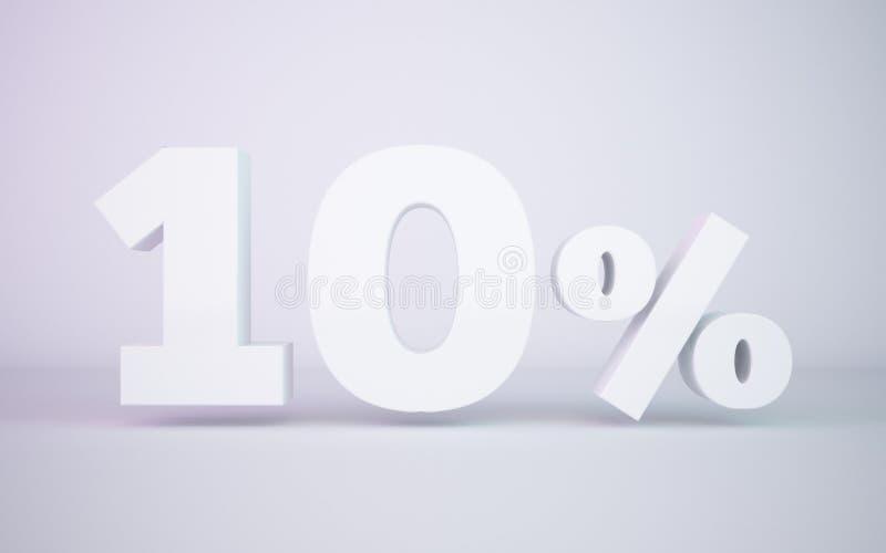 3D che rende la percentuale di bianco 10 ha isolato il fondo bianco illustrazione vettoriale