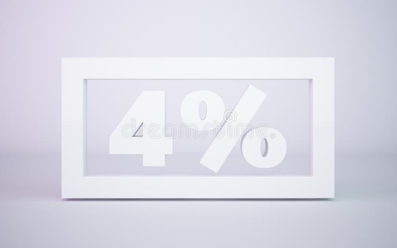 3D che rende la percentuale di bianco 4 ha isolato il fondo bianco fotografie stock libere da diritti