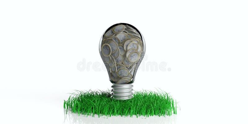 3d che rende lampadina con le monete su erba illustrazione di stock