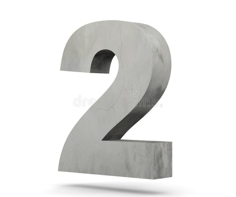 3D che rende numero concreto 2 due 3d rendono l'illustrazione royalty illustrazione gratis