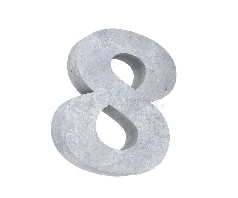 3D che rende numero concreto 8 otto 3d rendono l'illustrazione illustrazione di stock