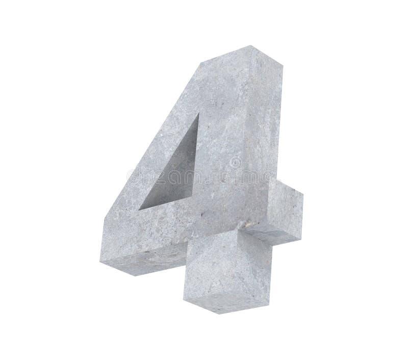 3D che rende numero concreto 4 quattro 3d rendono l'illustrazione royalty illustrazione gratis