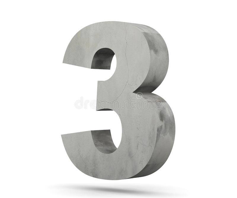 3D che rende numero concreto 3 tre 3d rendono l'illustrazione illustrazione vettoriale