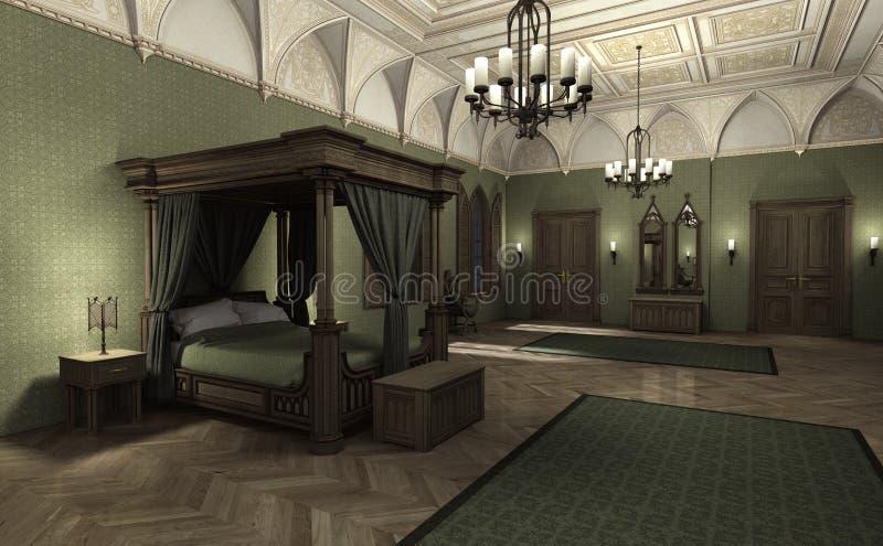 3D che rende palazzo scuro illustrazione di stock