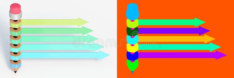 3D che rende progettazione infographic educativa con la matita isolata illustrazione vettoriale