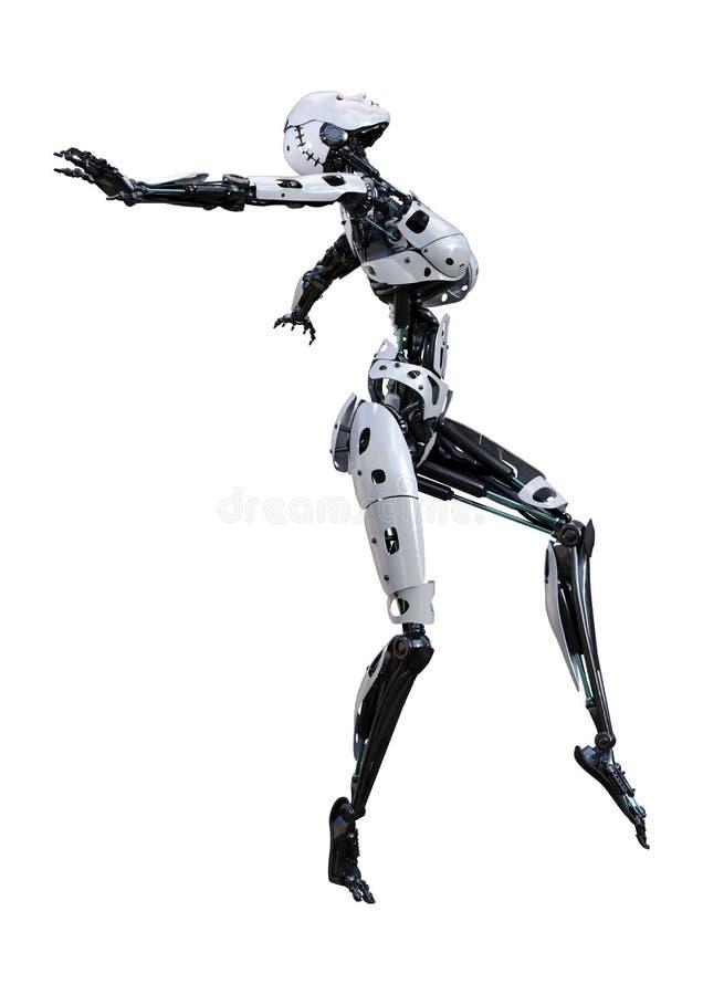3D che rende robot femminile su bianco illustrazione di stock