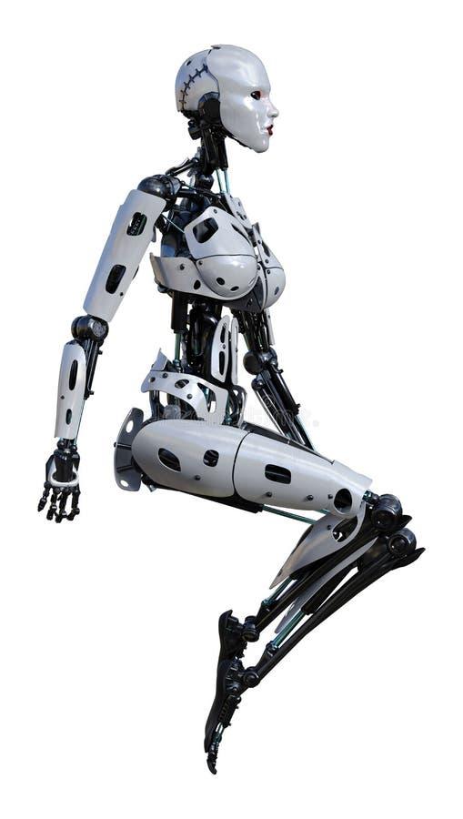 3D che rende robot femminile su bianco illustrazione vettoriale