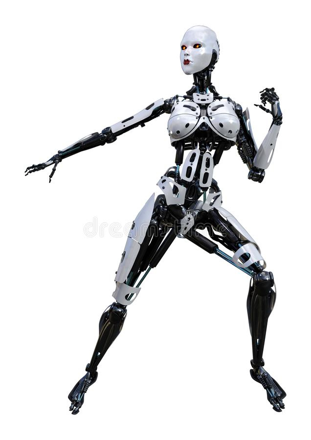 3D che rende robot femminile su bianco royalty illustrazione gratis
