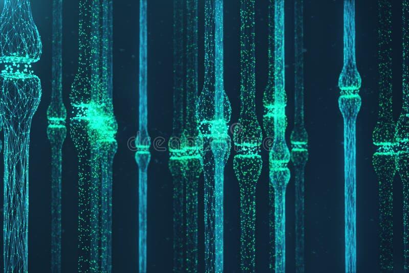 3D che rende sinapsi d'ardore blu Neurone artificiale nel concetto di intelligenza artificiale Linee di trasmissione sinaptiche illustrazione di stock