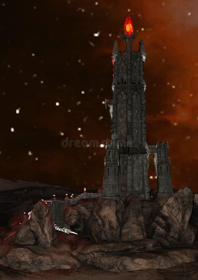 3D che rende torre nera illustrazione di stock