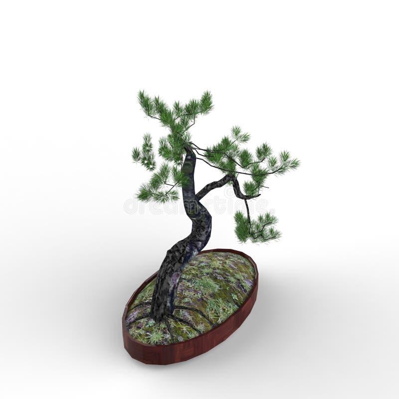 3d che rende un bonsai creato usando uno strumento del miscelatore illustrazione di stock