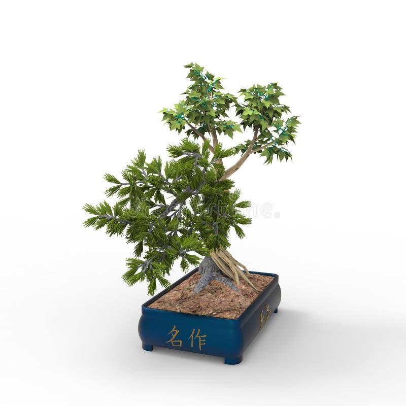 3d che rende un bonsai creato usando uno strumento del miscelatore Bonsai del realista 3d royalty illustrazione gratis