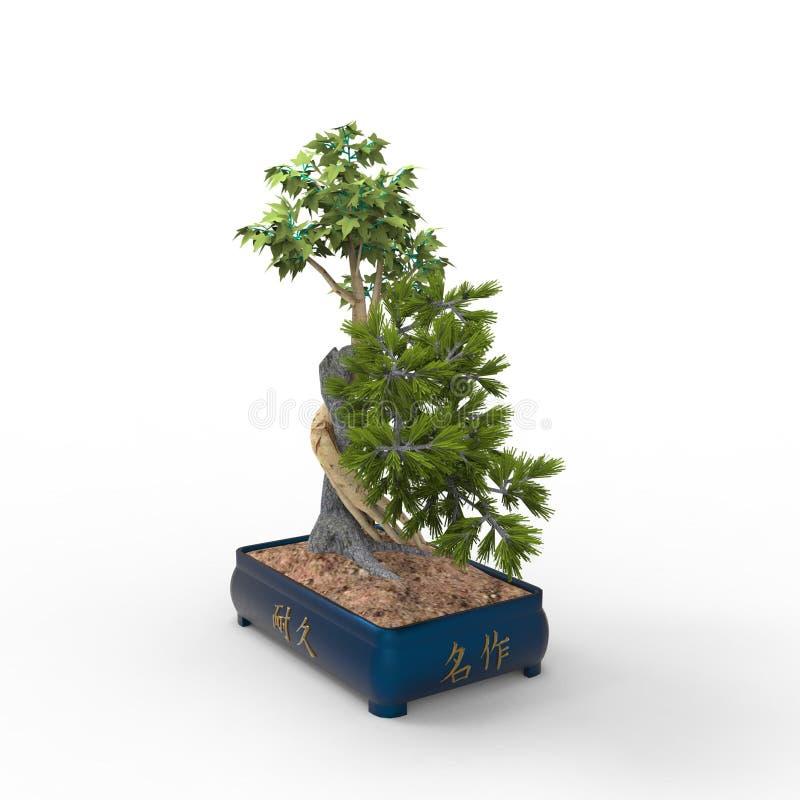 3d che rende un bonsai creato usando uno strumento del miscelatore Bonsai del realista 3d illustrazione vettoriale