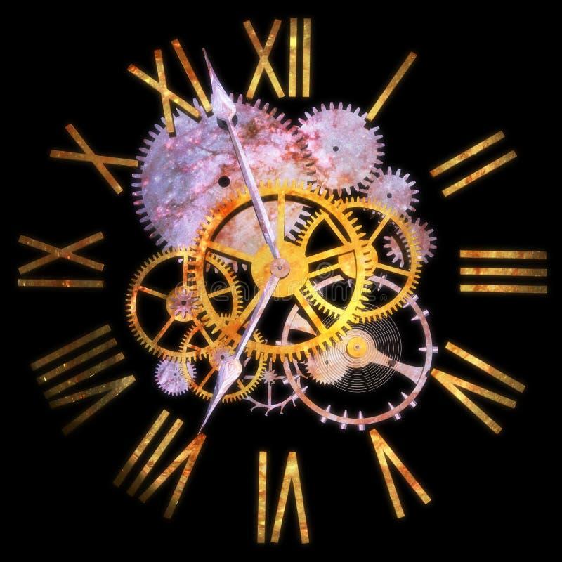 3D che rende un orologio, concetto di tempo ed universo fotografia stock libera da diritti