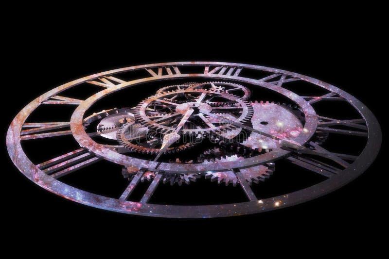 3D che rende un orologio, concetto di tempo ed universo immagine stock libera da diritti