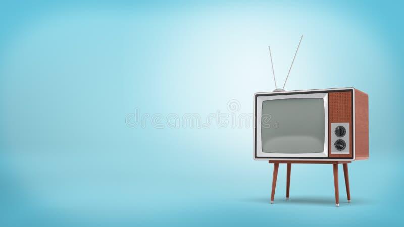 3d che rende un retro set televisivo con un'antenna lunga e uno schermo in bianco sta su una tavola a quattro zampe su fondo blu royalty illustrazione gratis
