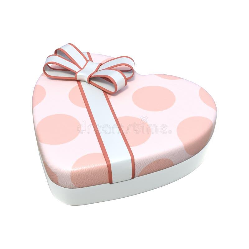 3D che rende Valentine Chocolate Box su bianco illustrazione di stock