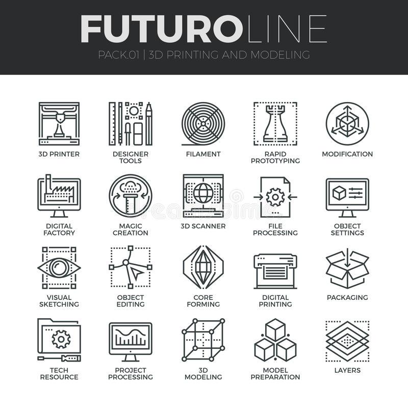 3D che stampa la linea icone di Futuro messe illustrazione di stock