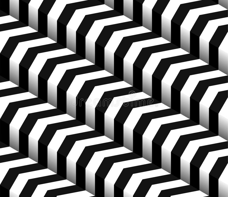 3d Checkered Black White Vector Seamless Pattern. 3d Isometric Checkered Black White Vector Seamless Pattern stock illustration
