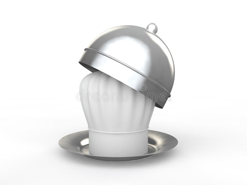 3d chef hat in plate stock photos