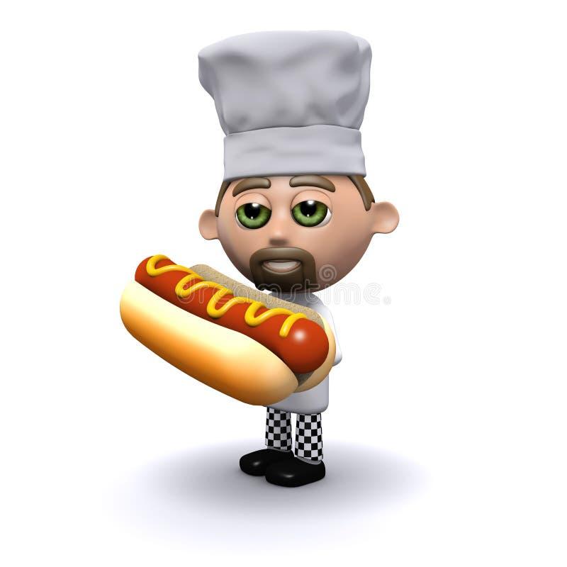 3d Chef-kok heeft een hotdog stock illustratie