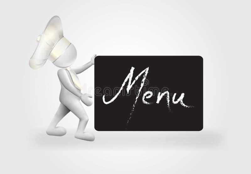 3D Chef-kok kleine mensen met een embleem van het menuteken vector illustratie