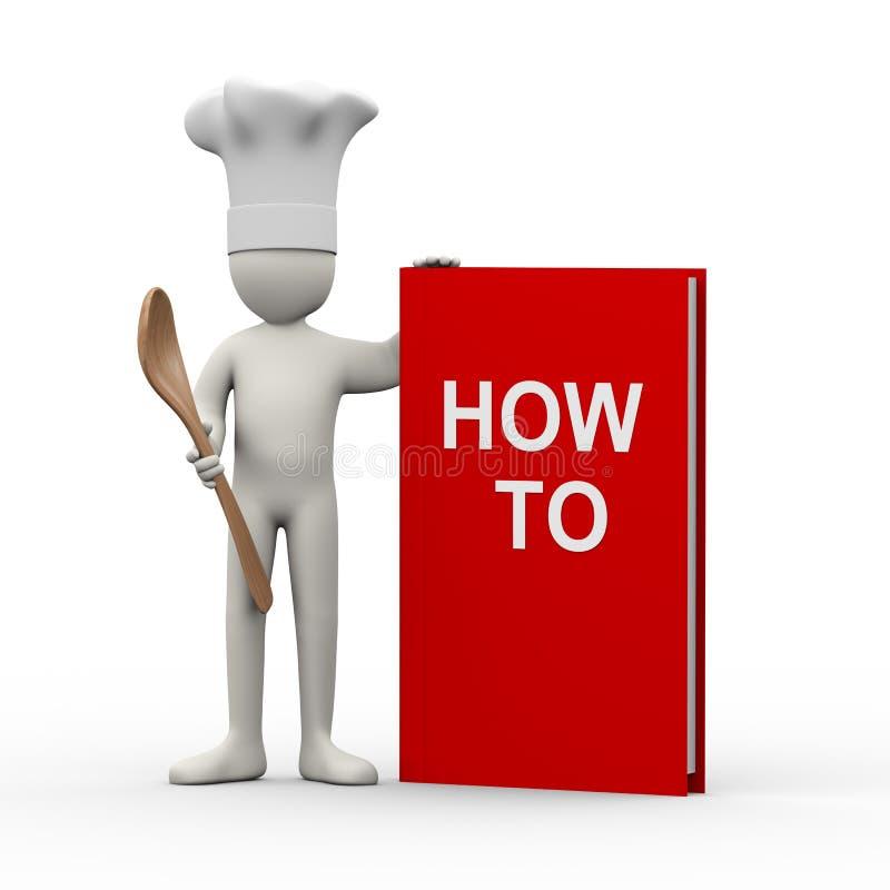 3d chef-kok met hoe te boeken stock illustratie