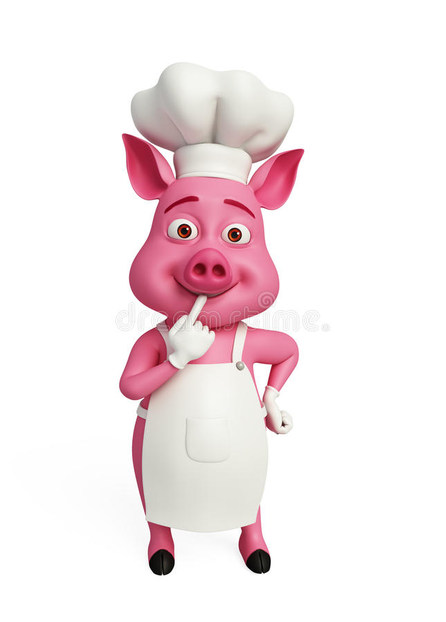 3d Chef-kok Pig denkt vector illustratie
