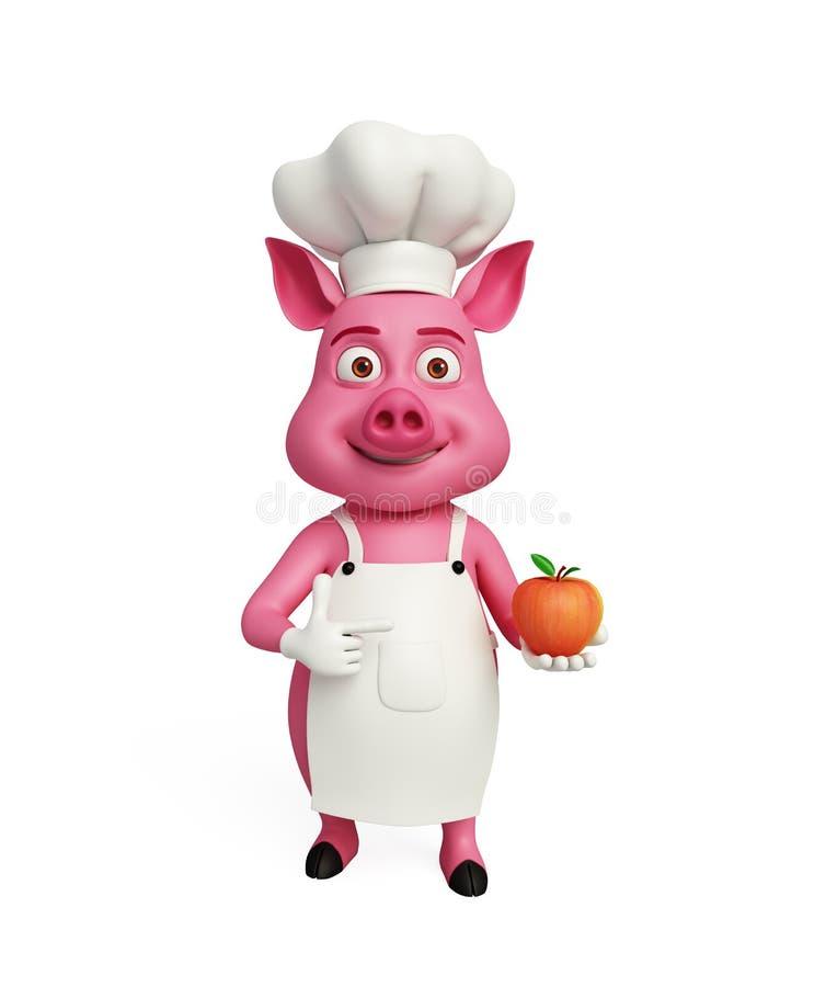 3d Chef-kok Pig met appel stock illustratie