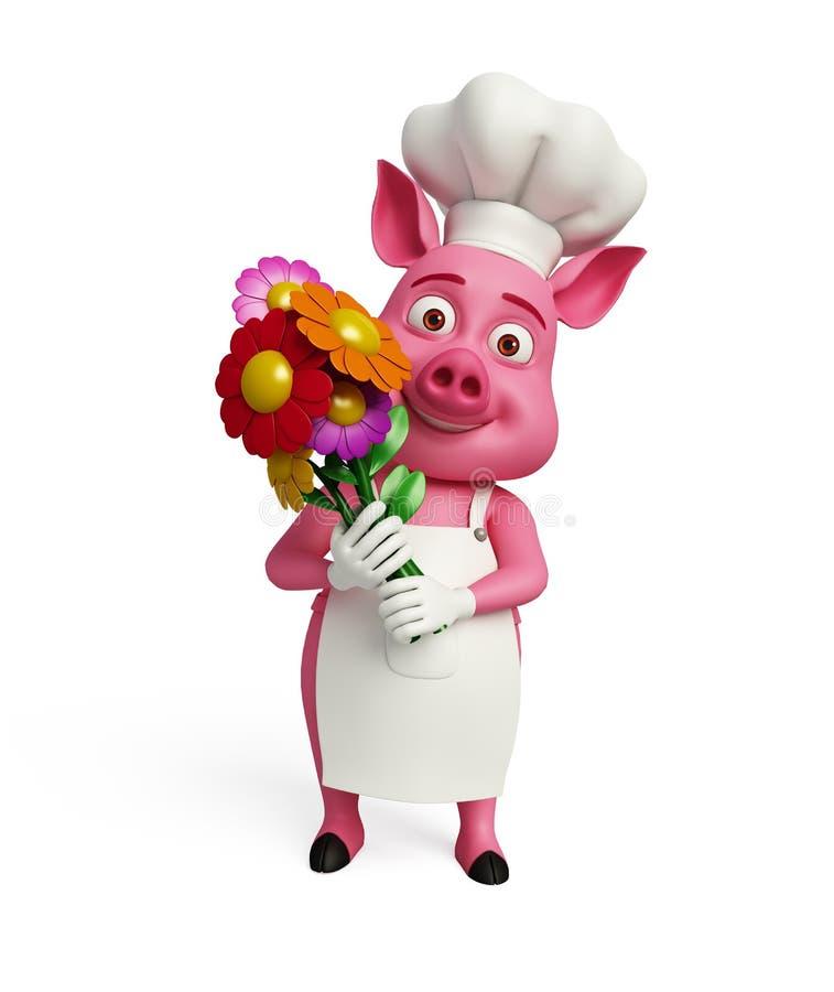3d Chef-kok Pig met bloemen vector illustratie