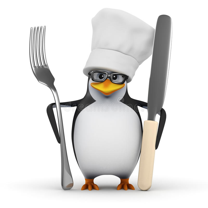 3d Chef-kokpinguïn met mes en vork royalty-vrije illustratie