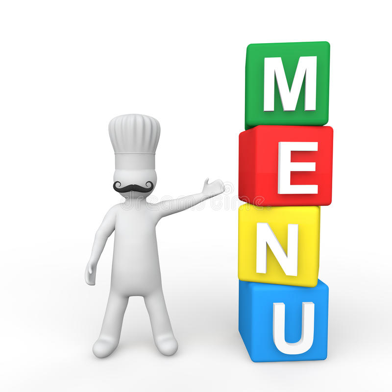 3d chef and menu cubes royalty free stock photo