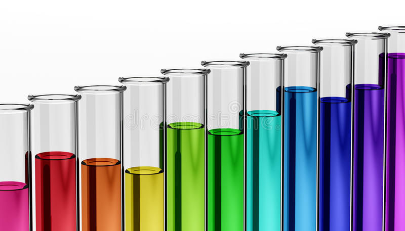 3d - chemistry - research - test tube - chemical stock illustration