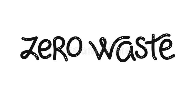 D?chets z?ro calligraphie typographie Il peut être employé pour se diriger, emballage, couverture, brochure, insecte, affiche, ba illustration libre de droits