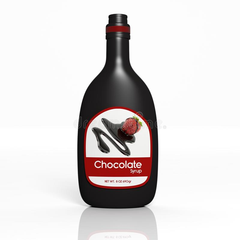 3D Chocolate Syrup bottle. Isolated on white vector illustration