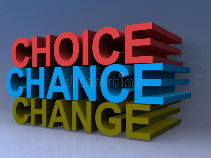 Choice Chance Change Sign. 3D choice, chance, change sign royalty free illustration