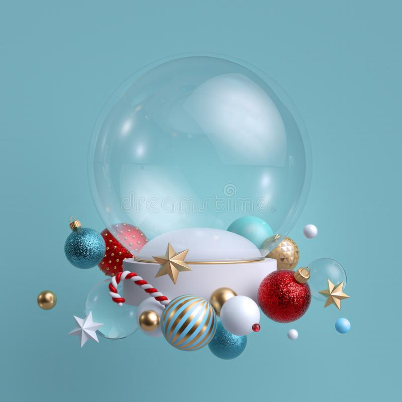 3d Christmas background. Glass ball decorated with festive ornaments. Blank mockup. Glass balls, crystal stars, candy cane. 3d Christmas background. Glass ball vector illustration
